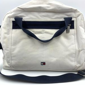 Tommy Hilfiger Tote Bag Overnight Bag White Canvas